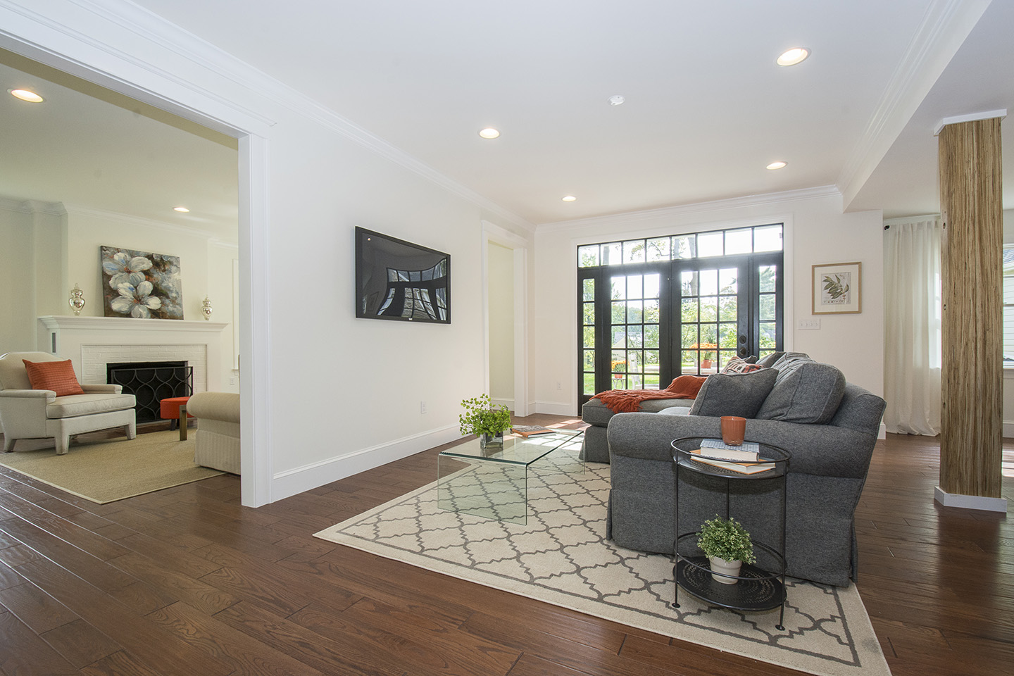 Open living room designed by a local contractor in lancaster county