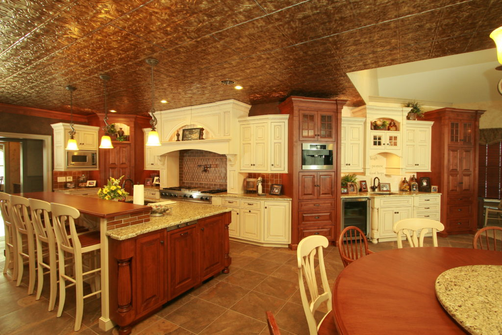 Large custom kitchen with copper ceiling